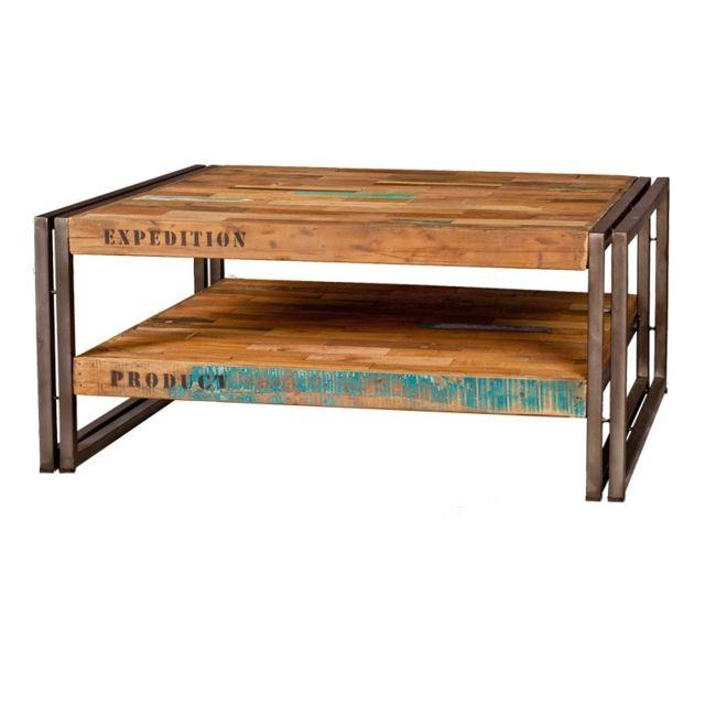 Tousmesmeubles Table basse en bois carrée 80 cm - Industry