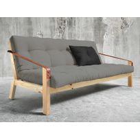 Karup - Canapé convertible en bois avec matelas futon et accoudoirs cuir Poetry