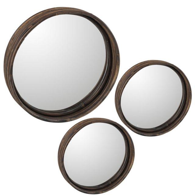 Tousmesmeubles Trio de Miroirs Rotin marron taille S - Minianka