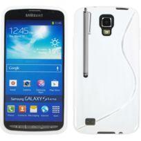 Vcomp - Housse Etui Coque souple silicone gel motif S-line pour Samsung Galaxy S4 Active I9295/ I537 Lte + stylet - Blanc