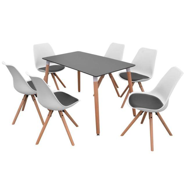Icaverne Ensembles De Meubles De Cuisine Et De Salle A Manger Ligne Ensemble De Table Et De Chaises 7 Pieces Noir Et Blanc