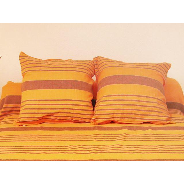 soleil d 39 ocre housse de coussin 40x40 cm olympe orange 30cm x 40cm pas cher achat vente. Black Bedroom Furniture Sets. Home Design Ideas