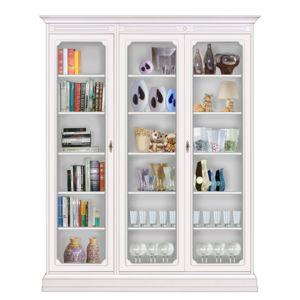 arteferretto biblioth que vitr e 3 portes blanc pas cher achat vente biblioth ques. Black Bedroom Furniture Sets. Home Design Ideas