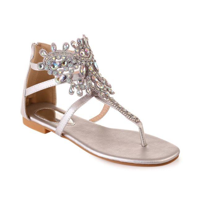 Lamodeuse - Nu-pieds argentés avec bijoux - pas cher Achat   Vente ... f084d8768d72