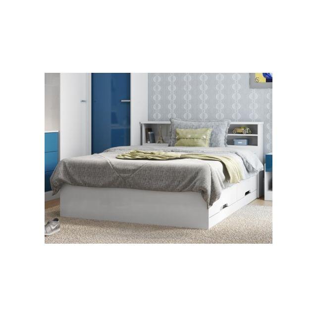 MARQUE GENERIQUE - Lit BORIS avec tiroirs et rangements et tiroirs - blanc - 140x190cm 140cm x 190cm