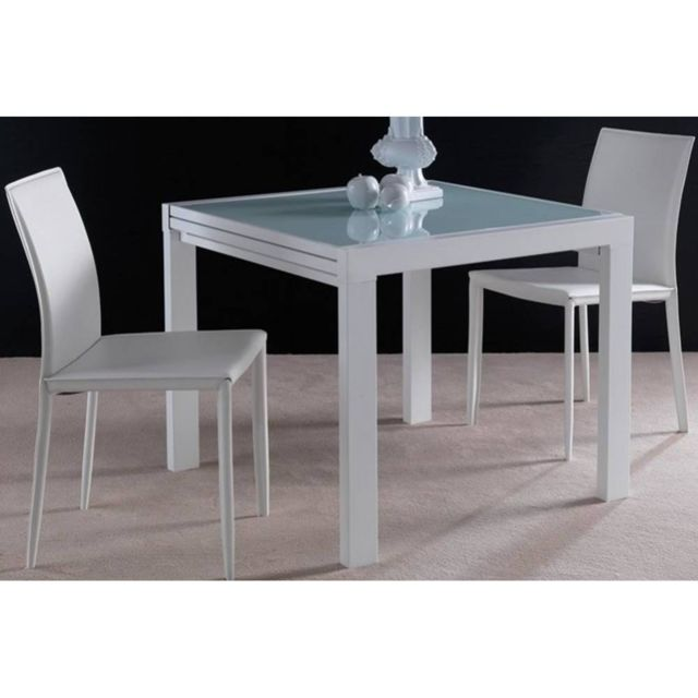 Inside 75 Table repas extensible Space en verre design blanc 120 cm