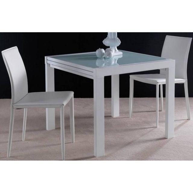 Inside 75 Table Repas Extensible Space En Verre Sérigraphié Blanc