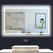 Miroir de salle de bain avec lumières Led 140x70cm LxH