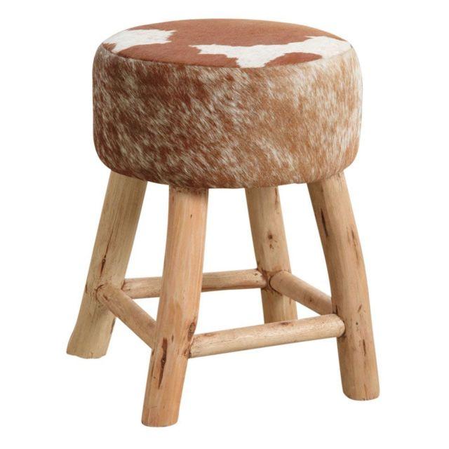 AUBRY GASPARD Tabouret en bois et peau de vache