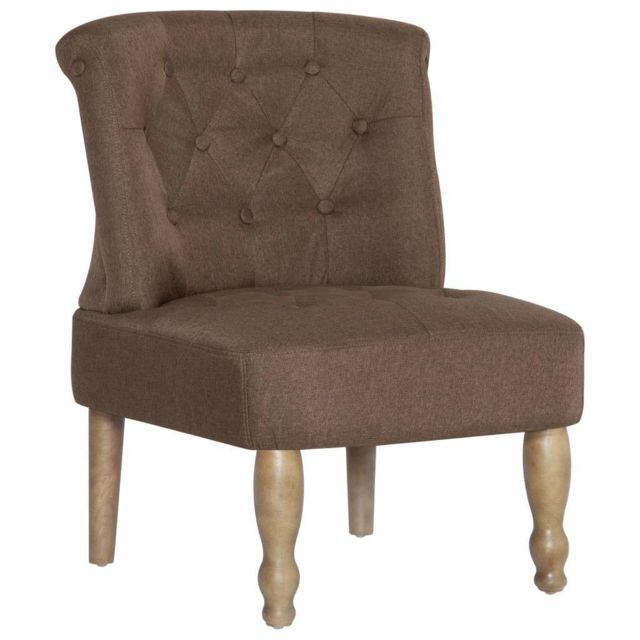 Fauteuil chaise siège lounge design club sofa salon s françaises 2 pcs marron tissu 1102254