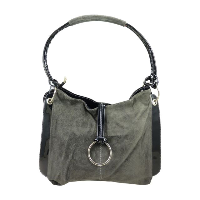 ed41b2f8dd84 Chaussmaro - Sac à main porté épaule femme bi-matière verni en croute de  cuir