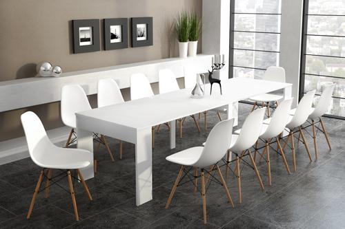 Home Innovation - Table de Salle à Manger extensible jusqu'à 301 cm, Blanc brillant Dimensions fermée : 90x49x75 cm de hauteur