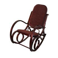 Mendler - Rocking-chair, fauteuil à bascule M41, imitation noyer, tissu marron