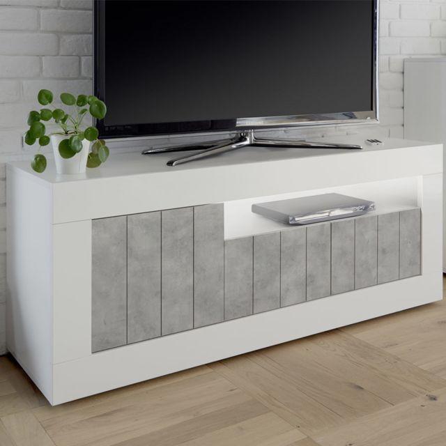 Meuble Tv Blanc Et Effet Beton Gris Moderne Mabel 5