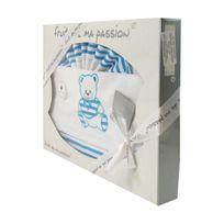 Fruit De Ma Passion - Coffret Parure de draps blanc et turquoise - Motif Nounours