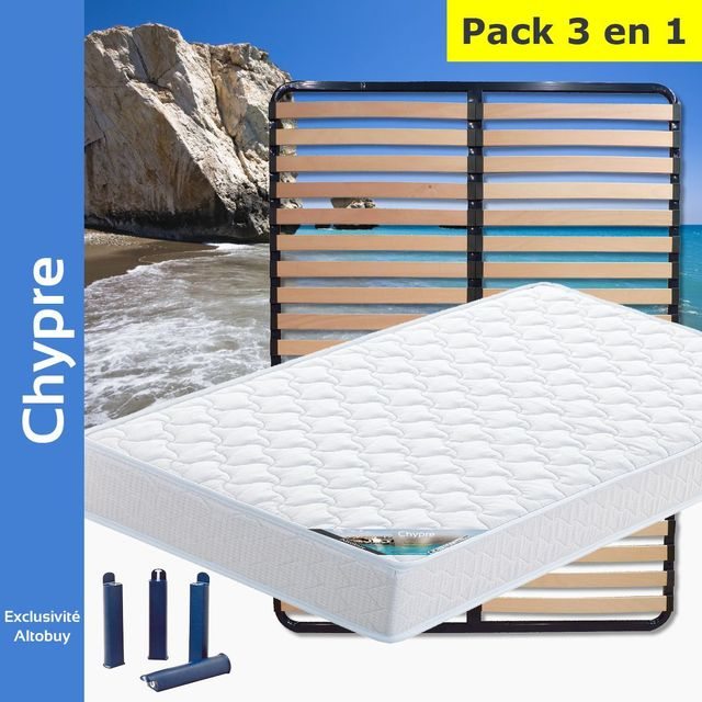 altobuy chypre pack matelas lattes 140x190 pieds blanc 140cm x 190cm pas cher achat. Black Bedroom Furniture Sets. Home Design Ideas