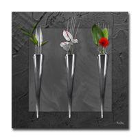 Boniday - Tableau Déco Soliflores Noir 30 x 30 cm