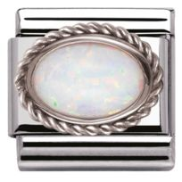 Nomination - Charm 030509-07 - Charm Opal Blanche Mixte