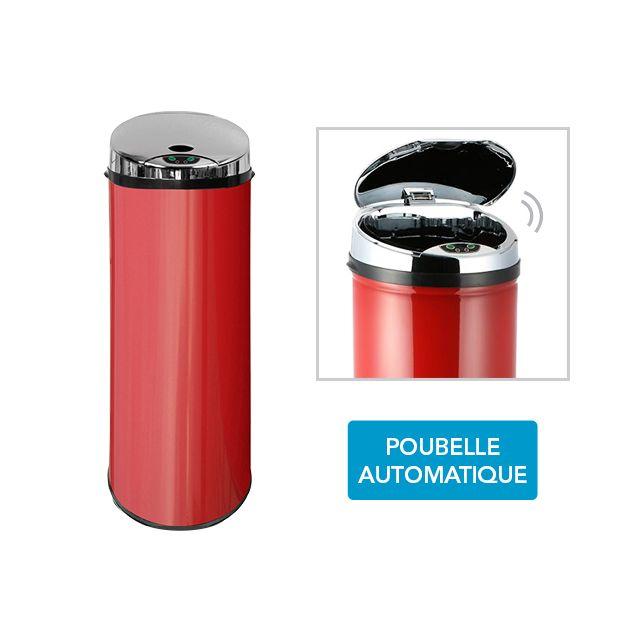 frandis poubelle automatique sensor rouge 45l pas. Black Bedroom Furniture Sets. Home Design Ideas