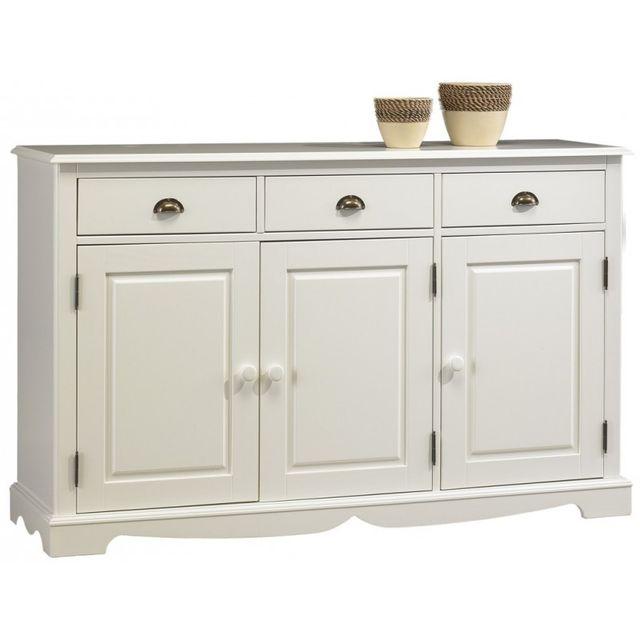 beaux meubles pas chers buffet blanc 3 portes 3 tiroirs pas cher achat vente buffets. Black Bedroom Furniture Sets. Home Design Ideas