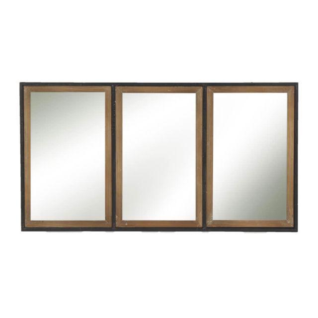 Pomax Miroir métal et bois 3 bandes 82x44x3cm Structure
