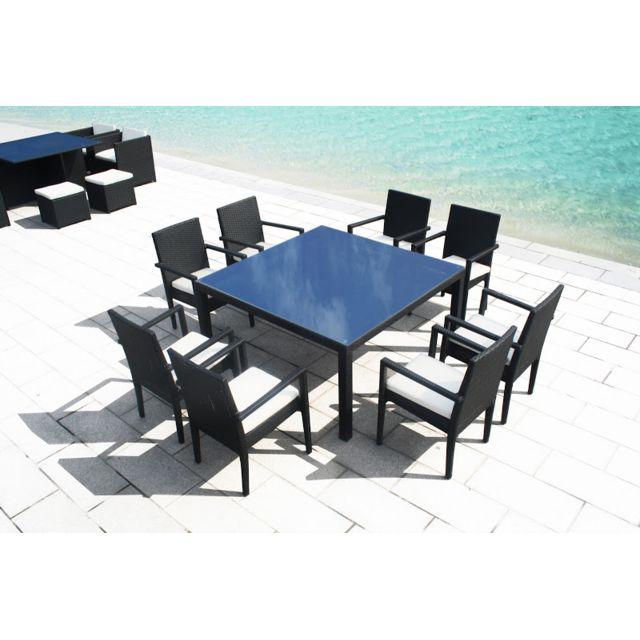 Design et Prix - Magnifique table carre resine tressee 8 ...