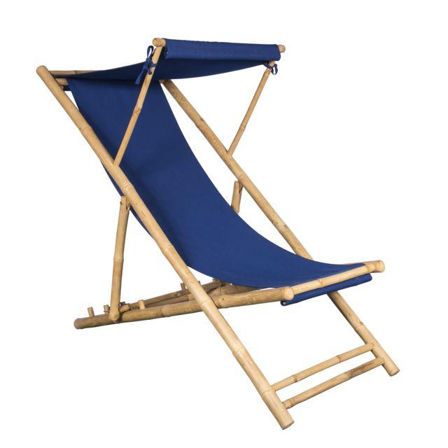 Jt2D Chilienne en Bambou et Toile Bleue Indigo 155 X 66 cm, Toile détachable, Casquette Amovible