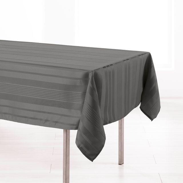 l 39 harmonie du decor cdaffaires nappe rectangle 140 x 300 cm jacquard damasse smart anthracite. Black Bedroom Furniture Sets. Home Design Ideas