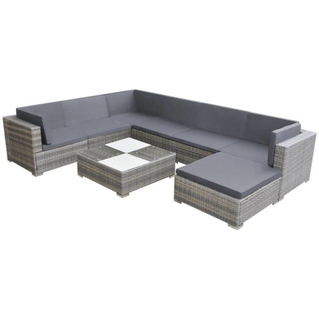 Icaverne - Ensembles de meubles d'extérieur famille Ensemble de canapé de jardin 24 pcs Résine tressée Gris