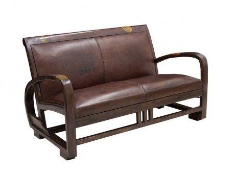 vente unique canap banquette en cuir de vachette et teck travel chocolat achat vente. Black Bedroom Furniture Sets. Home Design Ideas