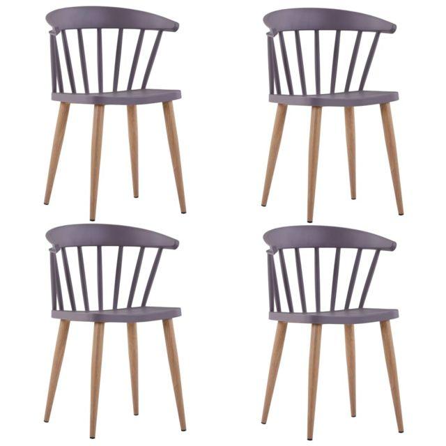 Contemporain Fauteuils et chaises categorie Oulan Bator Chaises de salle à manger 4 pcs Gris Plastique et acier