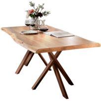 comforium table de salle manger rustique 180x100 cm en bois massif avec pitement en