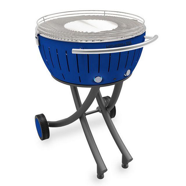 barbecue à charbon portable 60cm bleu avec housse lg tb 600
