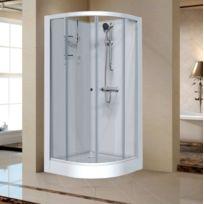Leda - Cabine de douche Izi Glass 1/4 rond portes coulissantes verre transparent 90 x 90 cm - L11IZ30239