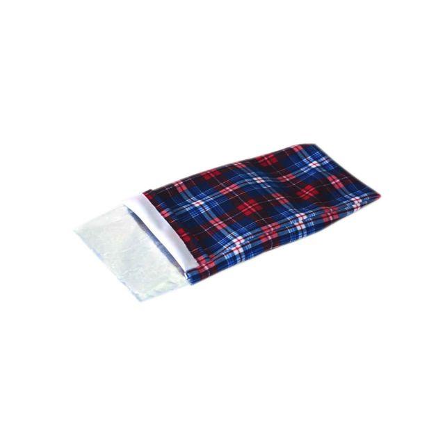 Coussin gel écossais pour articulations rougebleu polyester 28 x 16 cm