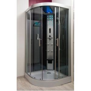 Aqua cabine de douche 1 4 de rond hydro skadi 100x100 - Cabine de douche sans joint silicone ...