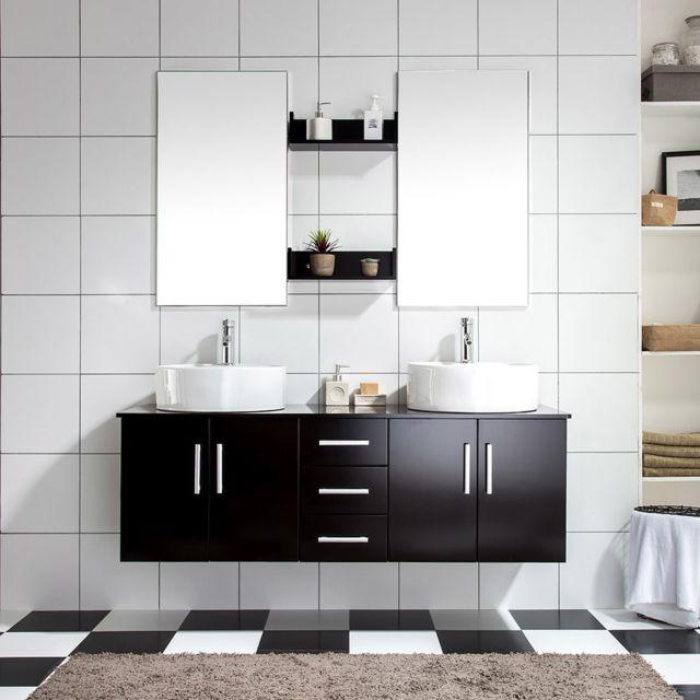 Concept usine ensemble meuble salle de bain complet 39 ares w 39 2 vasque 2miroir pas cher achat - Meuble salle de bain rue du commerce ...