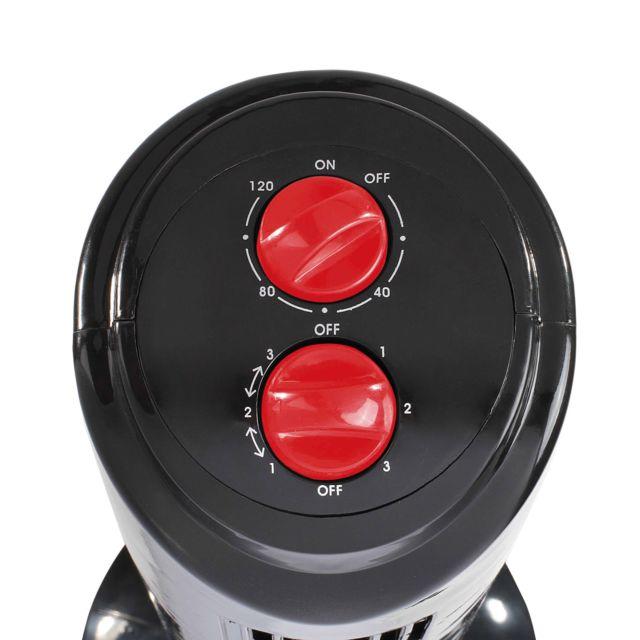 DOMOCLIP Ventilateur colonne noir/rouge DOM347NR Ventilateur colonne - 80 cm - oscillant à 70° - 3 vitesses de ventilation - Minuterie de 120 min - Grille protectrice - Sécurité anti surchauffe - Pieds antidérapants