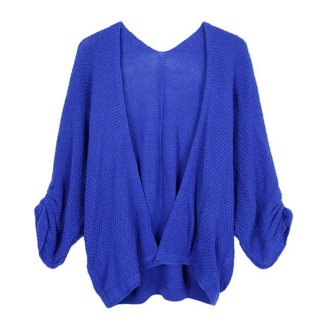 >Pull femme à manches longues pull en tricot ouvert devant manteau royalblue