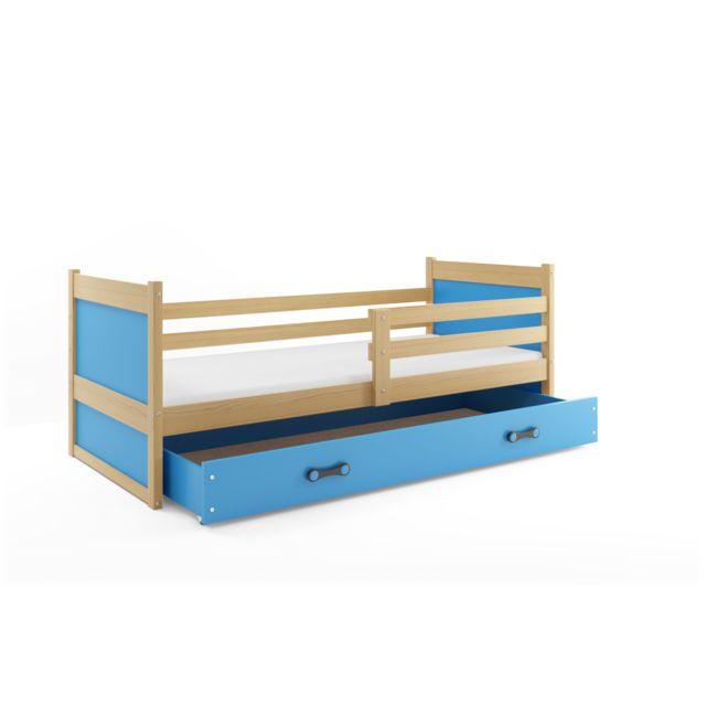 Interbeds Lit enfant rico 200x90 avec matelas sommier et tiroir en pin+bleu