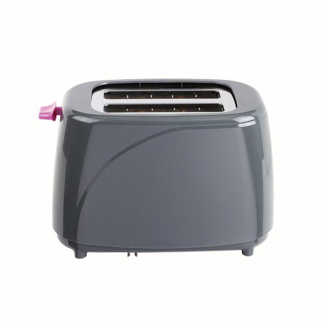 DOMOCLIP Grille-pain gris violet DOD150GVI Grille-pain - Fonctions arrêt manuel, réchauffage et décongélation - Thermostat réglable : 5 positions - Éjection automatique - Tiroir ramasse-miettes