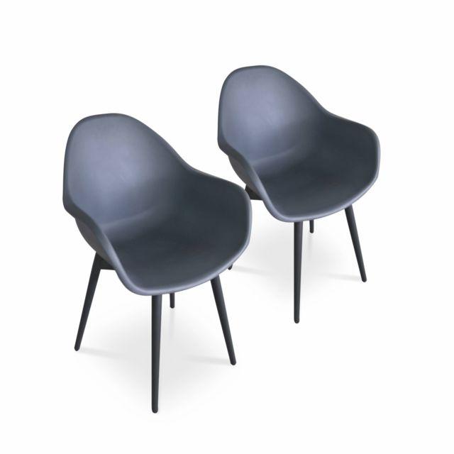 ALICE'S GARDEN Lot de 2 fauteuils scandinaves PADAR, métal et résine injectée, gris foncé, intérieur/extérieur