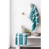 Finlandek - Bain - Finlandek Set de 2 Serviettes de toilette Kylpy 50x100 cm rayures bleu pétrole et blanc