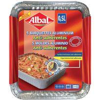 Albal - Barquette alu anti-adhérente 0,5l Plate x5