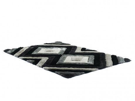 Marque Generique Tapis Shaggy Effet 3d Sablier Polyester Gris