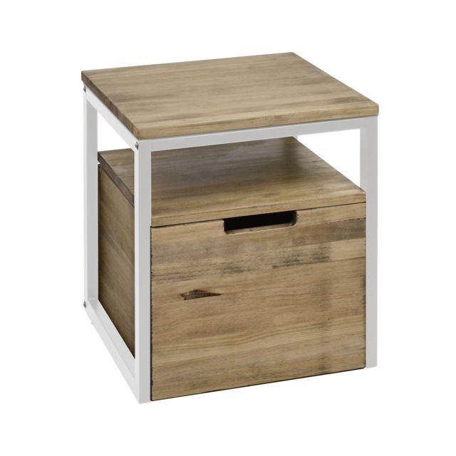 Ds Meubles Table de chevet Icub3 avec étagère et tiroir 40x40x45cm Blanc