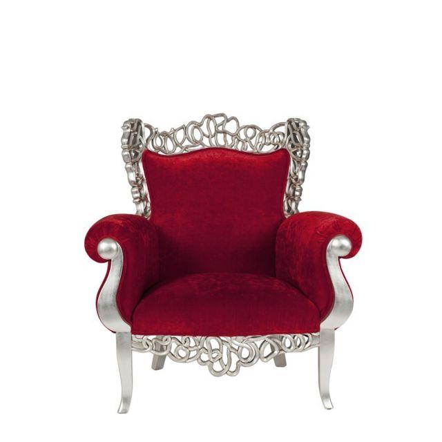 Tousmesmeubles Fauteuil Baroque Rouge - Precious - L 110 x l 90 x H 120