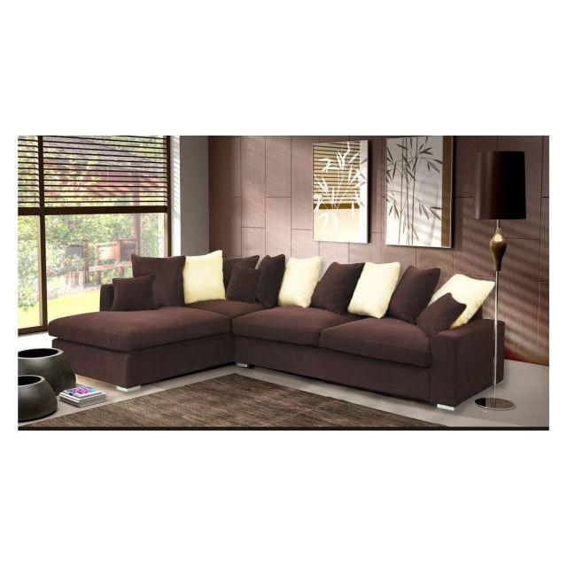 meublesline canap dangle 5 places luxe tissu chocolat beige marronbeige - Canape Beige