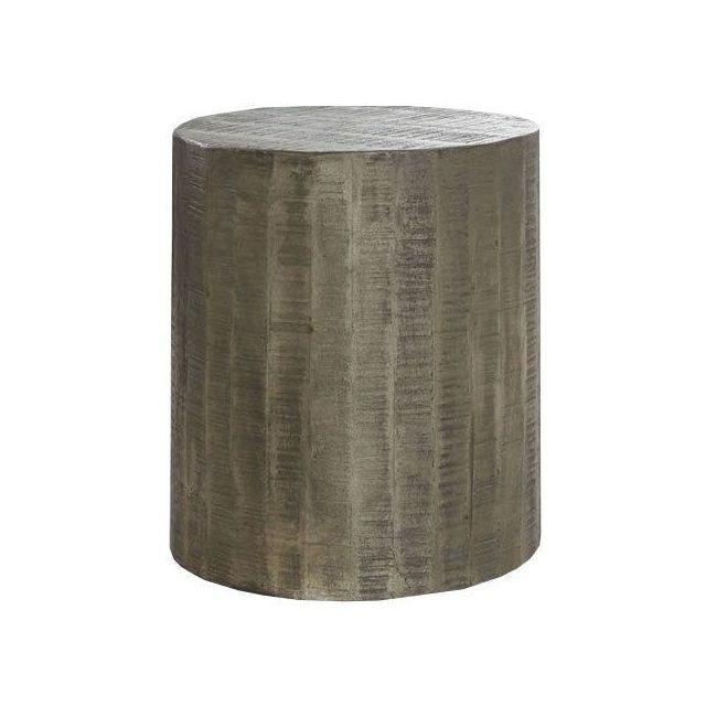 COMFORIUM Table d'appoint rond Ø40cm en bois massif manguier avec roulettes coloris argile antique foncé