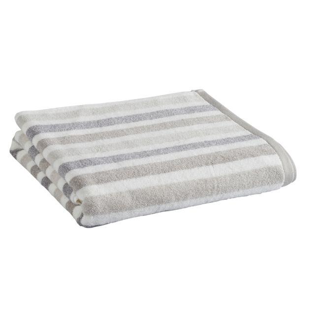 tex home drap de douche chinee rayee en coton beige pas cher achat vente serviettes de. Black Bedroom Furniture Sets. Home Design Ideas